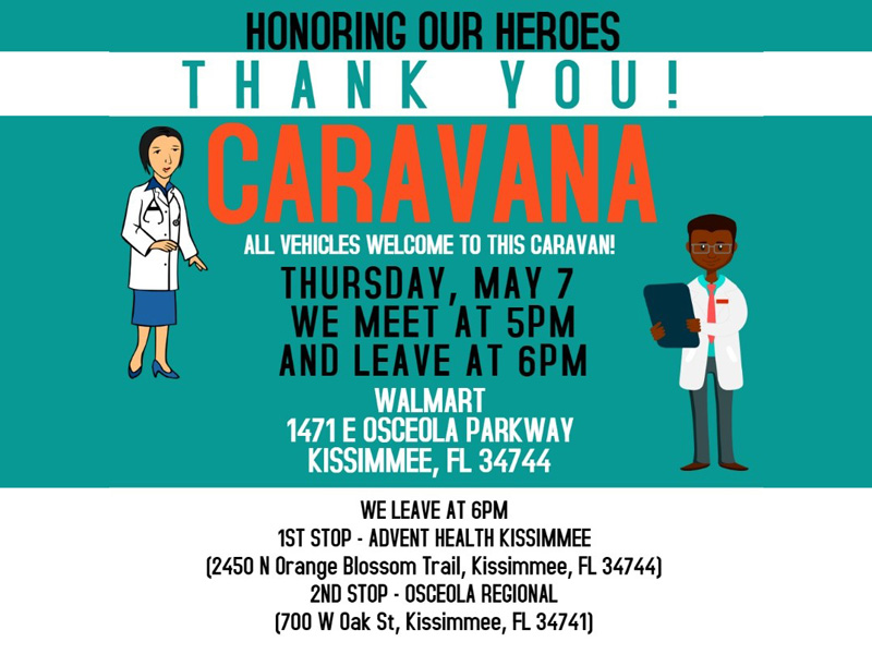 Osceola Nurses and Medical Personnel to be Honored with 'Caravana' tonight (Thursday, May 7)