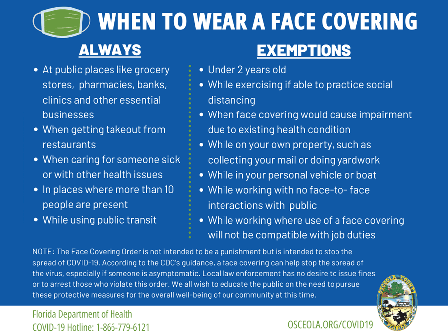 Osceola Issues Order for Face Covering in Public